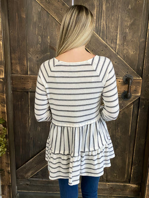 Striped Tiered Babydoll Tunic Top