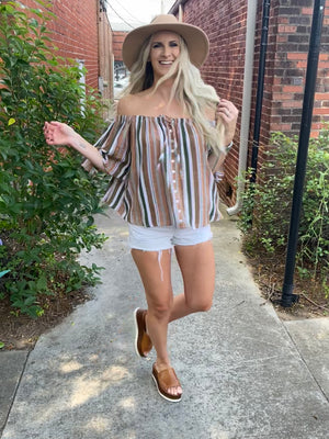Striped Off Shoulder Button Up Top