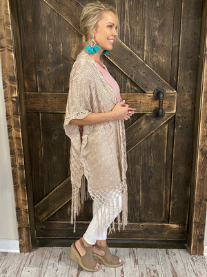 Crochet Knit Fringe Sweater in Taupe