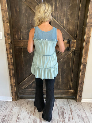 Waffle Knit Tank Top with Contrast Back-Mint