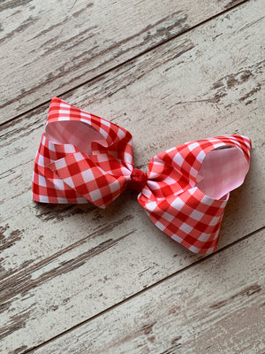 Red Plaid French Knot Bow Clip
