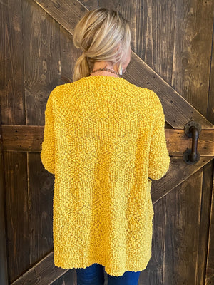 Popcorn Knit Cardigan with Pockets