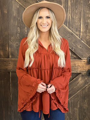Tiered Ruffle Bell Sleeve Top with Tie in Rust