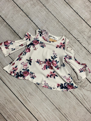 Ivory Floral Top with Arm Cutouts