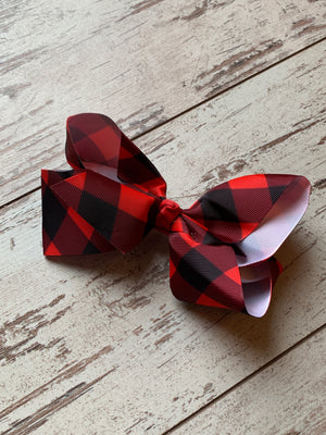 Buffalo Plaid French Knot Bow Clip