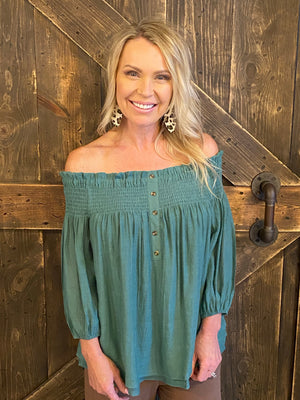 Smocked Off Shoulder Top with Button Detail