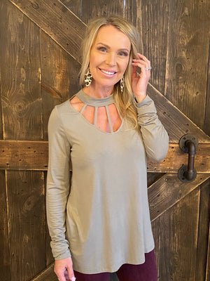Caged Neck Knit Top in Sage