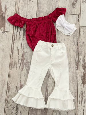 Velvet Off Shoulder Romper in Red