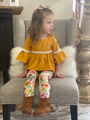 Floral Legging & Tunic Top Set in Mustard