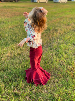 Double Ruffle Bell Bottom Jeans with Raw Hem in Burgundy