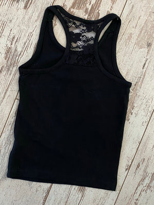 Solid Racerback Tank with Lace Detail in Black