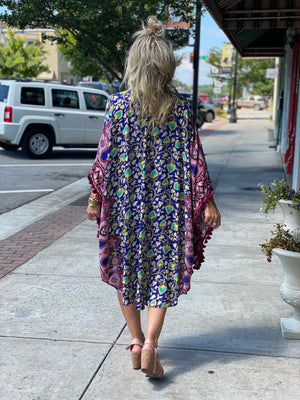 Multi Print High Low Kimono with Tassels