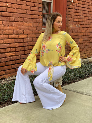 Floral Bell Sleeve Top with Front Tie