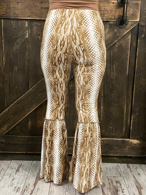 Snakeskin Printed Bell Bottom Pants