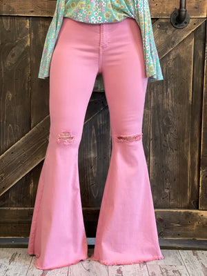 Distressed Bell Bottom Jeans with Raw Hem in Pink