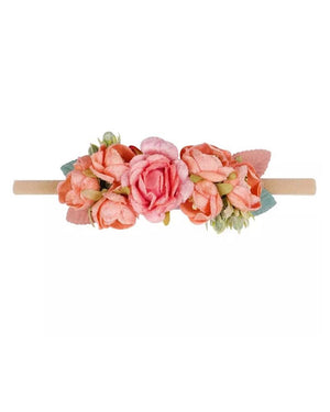 Peach Floral Nylon Headband