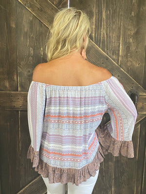 Contrast Print On/ Off Shoulder Top