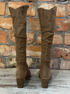 Faux Suede Tall Boot in Tan