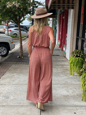 Striped Ruffle Jumpsuit with Side Slits