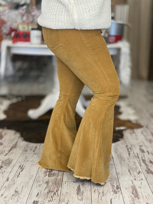 Corduroy Bell Bottom Pants in Mustard