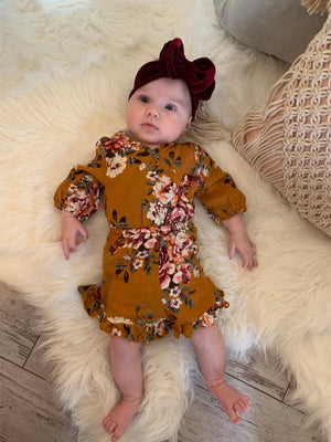 Long Sleeve Floral Romper in Mustard