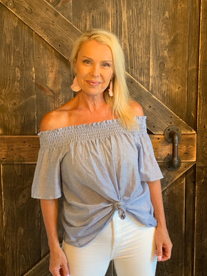 Smocked Off Shoulder Top with Back Tie