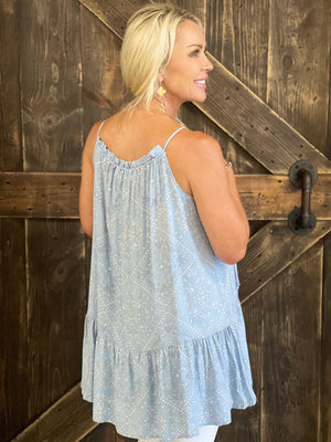 Printed Ruffle Hem Tank Top in Blue