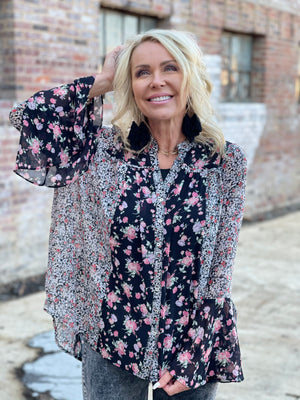 Chiffon Button Up Floral Bell Sleeve Top
