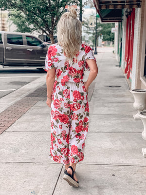 Floral Print Cropped Wide Leg Jumpsuit