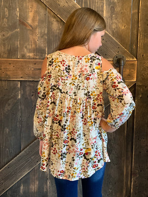Floral Cold Shoulder Tunic Top