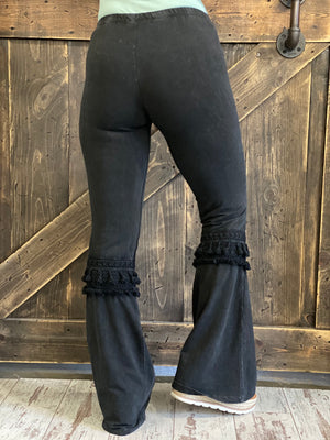 Fringed Crochet Washed Bell Bottom Flare Pants in Black