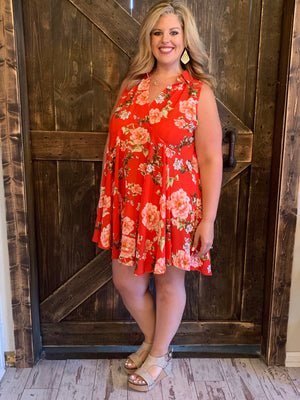 Collared Sleeveless Floral Tunic Dress