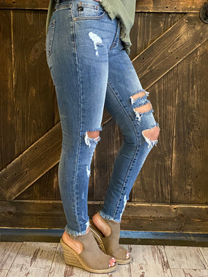 Mid Rise Skinny Ankle Distressed Denim