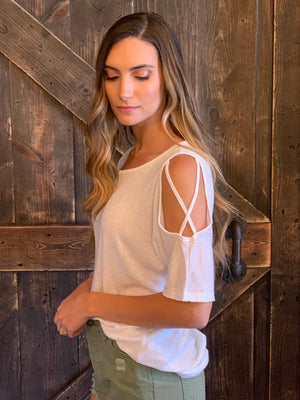 High Low Caged Sleeve Top
