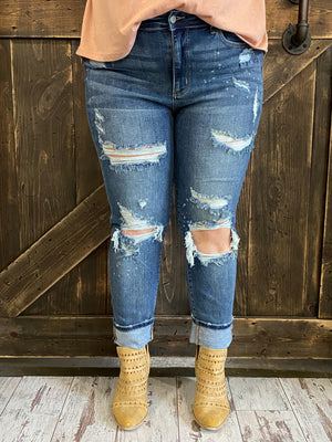 Splattered Bleach Distressed Boyfriend Jean