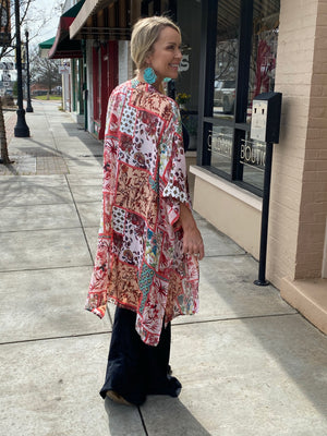 Floral & Paisley Print Open Front Kimono with Side Slits