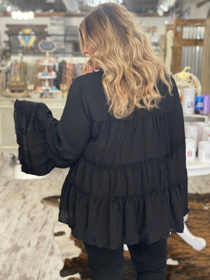 Tiered Ruffle Bell Sleeve Top with Tie