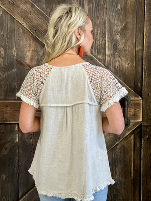 Floral Crochet Frayed Hem Top in Sand