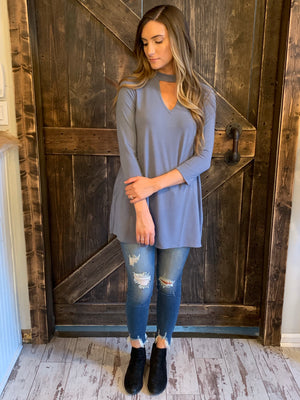 3/4 Sleeve Top with Keyhole in Grey