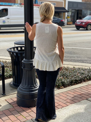 Double Ruffle Tank Top in Off White