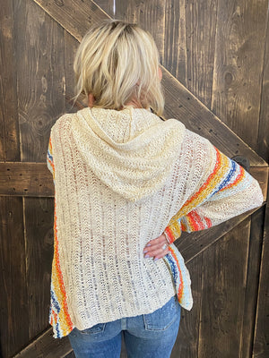 Striped Hooded Multicolor Knit Top in Natural