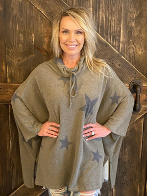 Star Printed Poncho Top with Side Slits