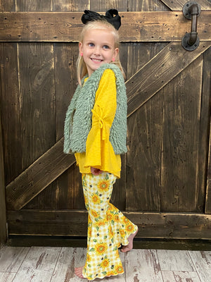Sunflower Bell Bottom Set with Fuzzy Vest