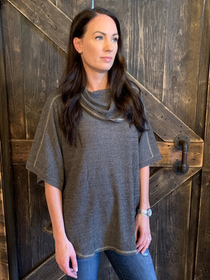 Cowl Neck Ribbed Poncho Top