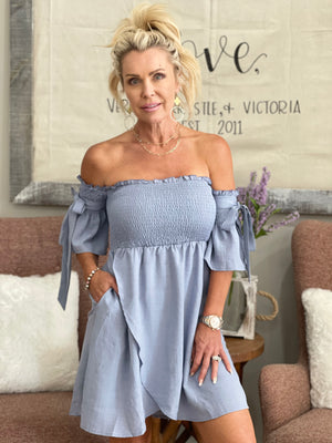 Smocked Off Shoulder Dress with Sleeve Ties