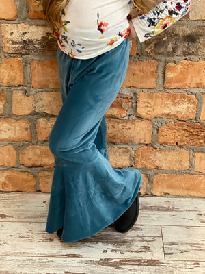 Velvet Bell Bottom Pants in Blue