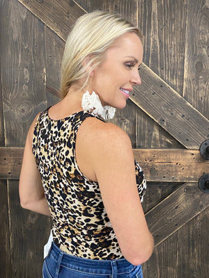 Leopard Print Sleeveless Bodysuit