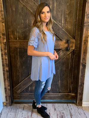 Asymmetrical Hem Top with Lace Sleeves