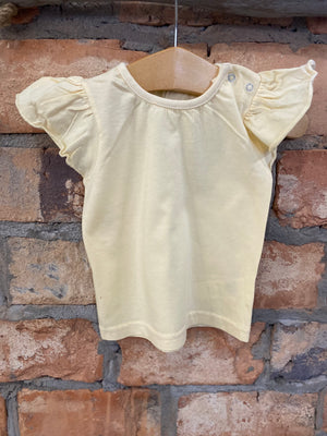 Solid Flutter Sleeve Top in Pale Yellow