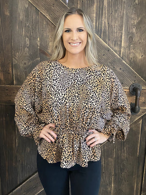Leopard Ruffle Bubble Sleeve Top